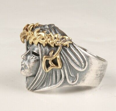 Precious Chinese Solid Silver Ring Statue Beauty Handwork Carving Handicraft