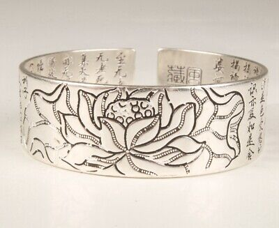 China Tibetan Silver Bracelet Lotus Old Collection Buddhist Spirituality