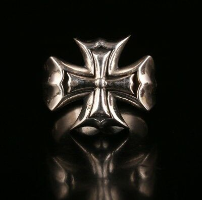 Rare China Solid Silver Ring Old Handmade Cross Exorcist Cool Limited Edition