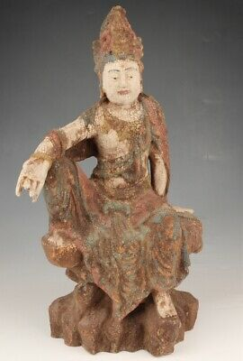 Antique Chinese Wood Statue Large Hand-Carved Old Bodhisattva Spiritual Offering