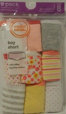 Wonder Nation Girls 100% Cotton Boyshort Underwear, 9 Pack Panties