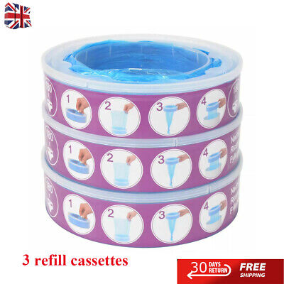3x Refill Cassettes for Angelcare PE Diaper Genie Nappy Disposal Bin Bag BlueUK