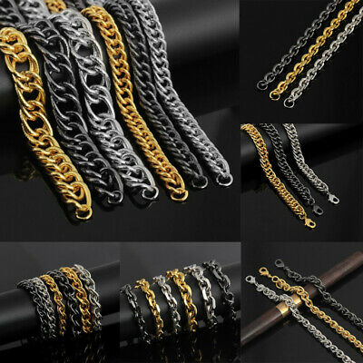 Mens Fashion Bracelet Chain Link Bangle Stainless Steel Punk Hip Hop Jewelry