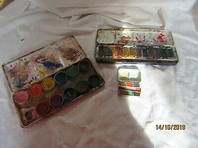 3 x vintage Artists' metal paint boxes - watercolours - Reeves, Windsor & Newton