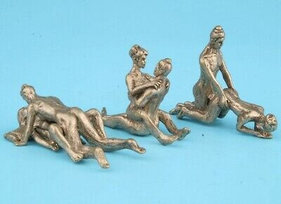 3 Retro China Tibetan Silver Statue Figurine Male Female Collection Private