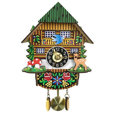 Wooden Cuckoo Wall Clock Swinging Pendulum Traditional Wood Hanging Crafts G7D6