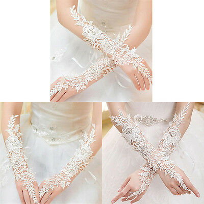 Crystal White Lace Bridal Glove Wedding Party Pageant Long Gloves FingerlessPTH