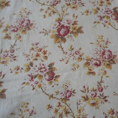 Antique Vtg French Trailing Roses Cotton Fabric ~ Raspberry Red Ochre Olive