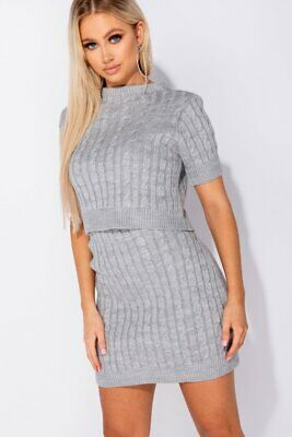 Grey Cable Knit Short Sleeve Crop Top & Mini Skirt Co-Ord Set