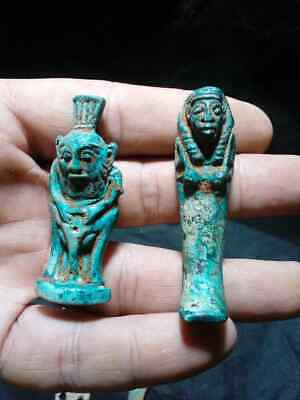 RARE Ancient Egyptian antique GOD BES, Shabti Figures & Amulets (300 BC)