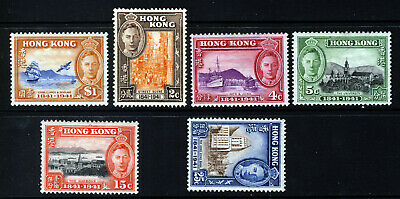 HONG KONG KG VI 1941 Centenary of British Occupation Set SG 163 to SG 168 MINT