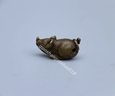 2.5 CM Pure Bronze Chinese Zodiac Animal Lucky rat mouse Statue Amulet Pendant