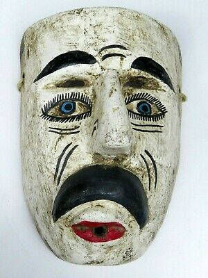 Vintage Hand Carved Painted Wood White Mask Tragedy Folk Art Carving Blue Eyes