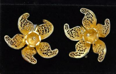 Antique Sterling Silver Art Nouveau Silver Mesh Flower Earrings Gold Plated