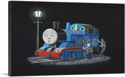 "Thomas The Tank Engine Canvas Art Print by Banksy 26""x18"" (.75"" Deep)"