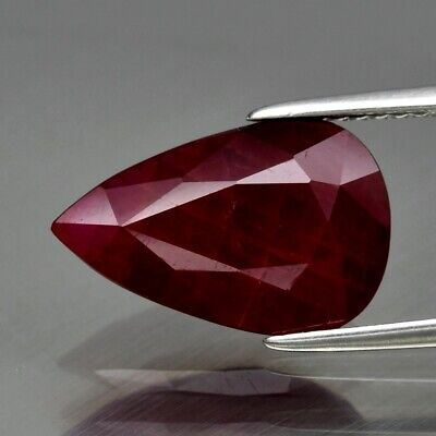 4.84ct 14x9mm Pear Natural Unheated Untreated Red Ruby, Madagascar
