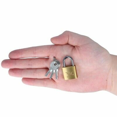 20mm Solid Brass EGRET Padlock Small Coop Hutch Cage Cupboard Cabinet Key Lock