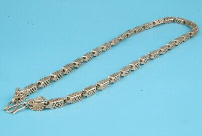 Retro China Tibetan Silver Necklace Dragon Old Sacred Decorative Gift