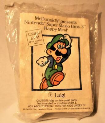 Vin 1989 NEW McDonald's Happy Meal Super Mario Bros. 3  LUIGI #2 Pull-Back Cloud