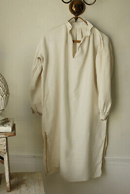 Antique Night Shirt Chemise Long Linen Soft White Undergarment FC Monogram