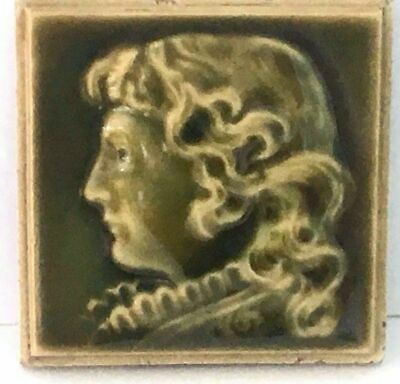 Trent Tile Art Pottery Tile In Relief Of Victorian Woman w/High Collar Olive