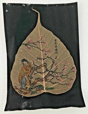 Asian Chinese 19th Century Leaf Pith Painting Rice Paper Figural Floral Scene