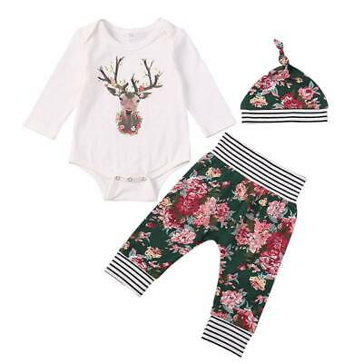 Newborn Kids Baby Girls Infant Long Sleeve Romper Tops Pants Hat Outfits 3PCS