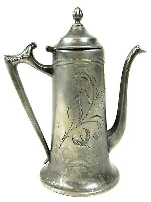 Antique SHEFFIELD Silverplate Tea Pot Coffee Aesthetic Movement 8in USA