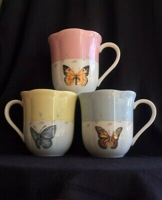 Lenox Butterfly Meadow Mugs Cup Collectable Dishes Fine China Set Of 3