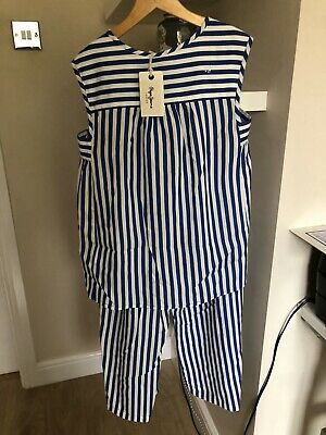 BARGAIN SALE Designer PEPE JEANS top & Trousers Blue Stripe age 12 Bnwt Rrp £82