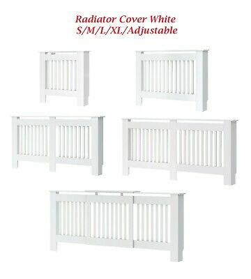 Radiator Cover Floor Standing Modern Painted Wall Cabinet Vertical Grill White