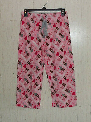 "NEW WOMENS HERSHEY'S ""LOVE Kisses"" NOVELTY PRNT KNIT PAJAMA CAPRI PANT  SIZE S"