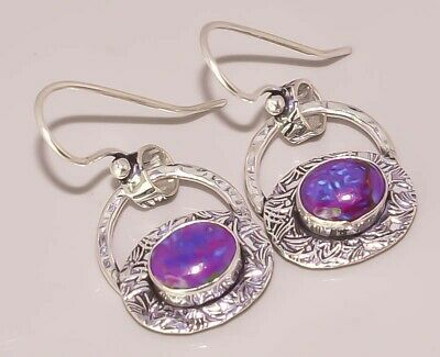 Purple Turquoise Handcrafted Jewelry  925 Sterling Silver Plated Earring