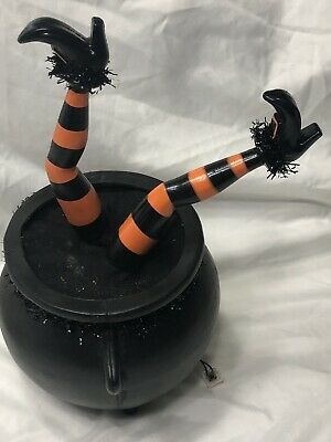Tekky Toys Halloween Hyde & Eek Animated/Sound Wicked Witch Legs In Cauldron