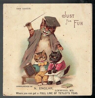 Antique 1890-1900 Just For Fun Animals As People Tetley Tea Childrens Booklet