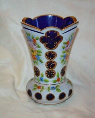 Czech Bohemian Cobalt Blue Cased to White Glass Large Hand Painted VASE LOT 4356