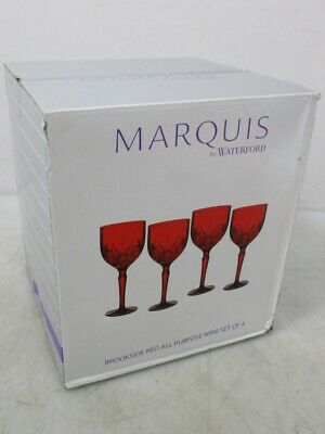 Set of 4 Marquis by Waterford Brookside Red Stemmed Wine Glasses
