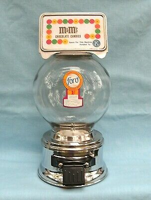 1c Ford Glass Globe M & M Counter Top Candy vending Machine Kiwanis  Marque