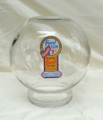 Original Ford Gumball  Vending Machine glass globe with Fired on 1 cent decal