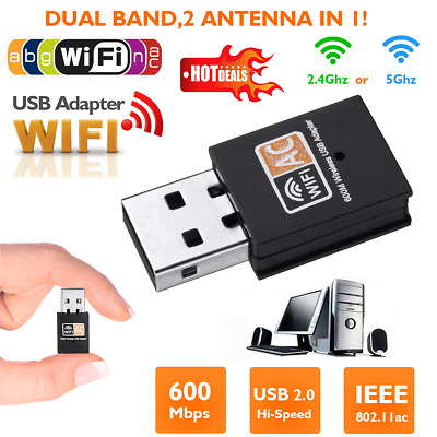 600Mbps Dual Band USB Wireless WiFi Adapter Dongle Network LAN 802.11ac/a/b 5Ghz