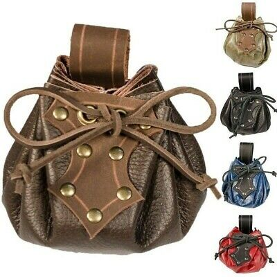 UK Steampunk Medieval Leather Purse Belt Bag Coin Cosplay Props Accessories