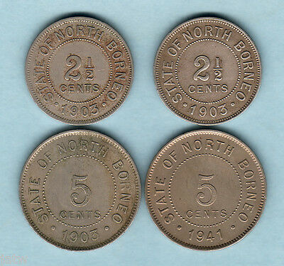 British North Borneo. 2 1/2 Cents:1903-H x2,  5 Cents:1903-H, 1941.  (4 Coins)