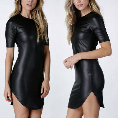 Sexy Damen Rundhals Kurzarm Bodycon Kleid Clubwear Wet Look Party Minikleider