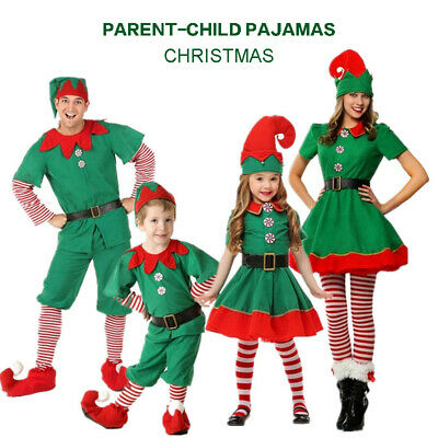 Kids Adult Christmas Elf Cosplay Costumes Set Christmas Party Fancy Dress Outfit