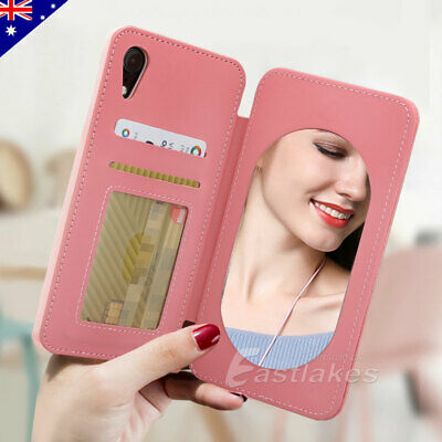 Magnetic Leather Flip Stand Card Mirror Wallet Case For iPhone XS Max  XR X