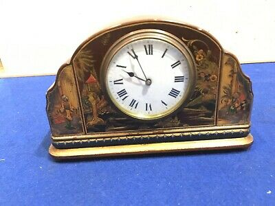 Beautiful mantle clock, 8 day french movement Chinese lacquered scenes