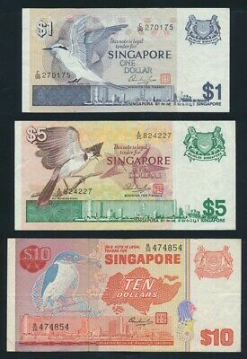 "Singapore: 1976-79 $1 to $10 Bird Series ""ATTRACTIVE SET OF 3"". Pick 9-11b"
