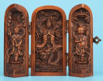Vintage Chinese Boxwood Box Hand-Carved Bodhisattva Spiritual Crafts Collection