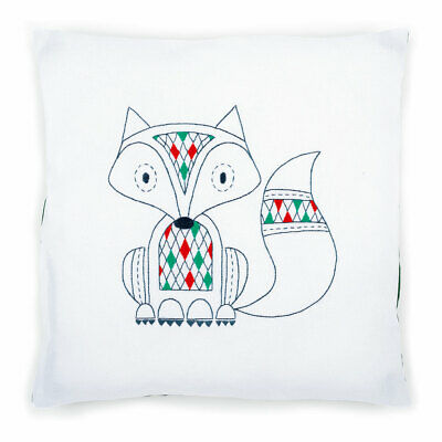 Vervaco Embroidery Kit Cushion | Fox on White | Size 40 x 40cm