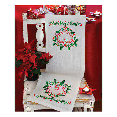 ANCHOR | Embroidery Kit: Lingonberry - Linen Table Runner | 92400002535